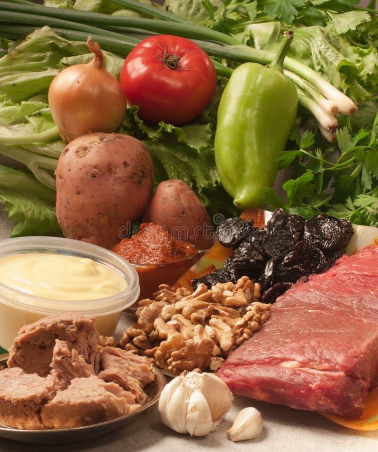 Ingredientes para a carne do assado fotografia de stock