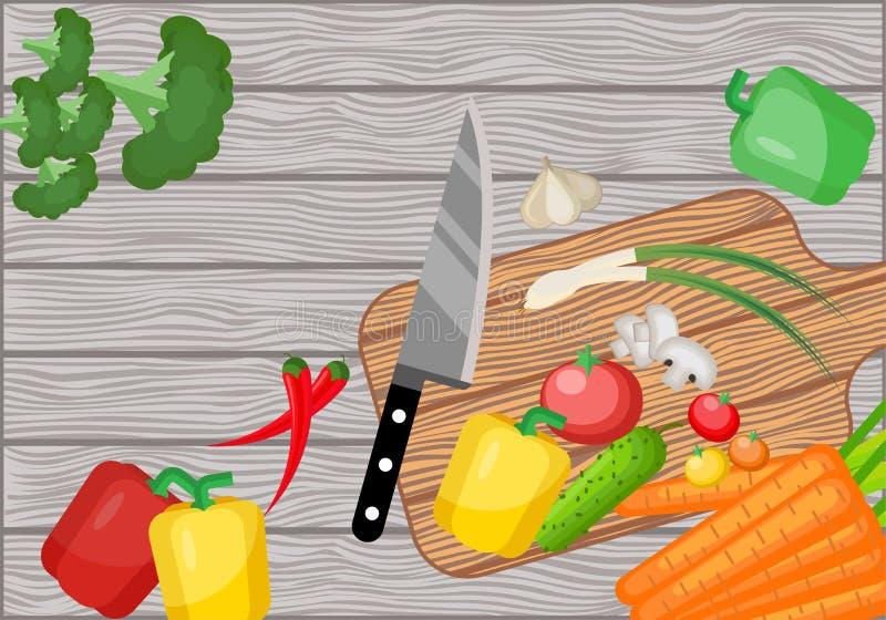 Ingredientes para cocinar en una tabla de madera vieja stock de ilustración