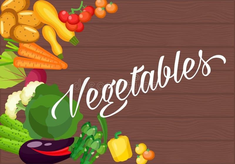 Ingredientes para cocinar en una tabla de madera vieja Diseño plano vegetariano Comida sana de diversas verduras stock de ilustración