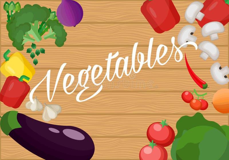 Ingredientes para cocinar en una tabla de madera vieja Diseño plano vegetariano Comida sana de diversas verduras libre illustration