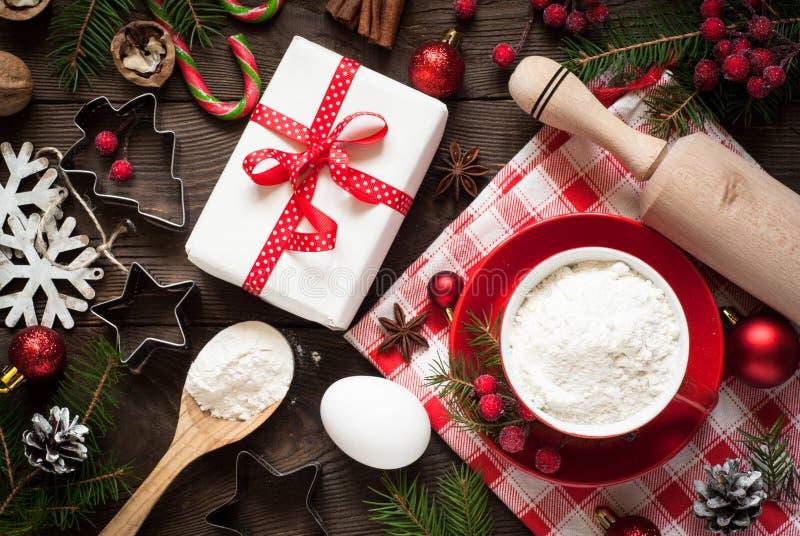 Ingredientes para cozinhar o cozimento do Natal fotos de stock royalty free