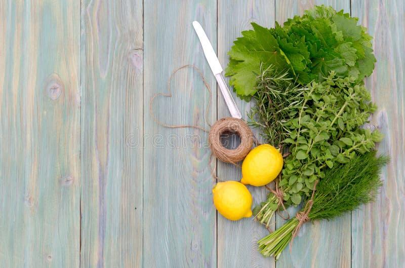 Ingredientes para cozinhar o dolma das folhas da uva imagens de stock royalty free