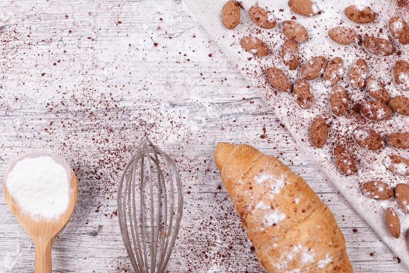 Ingredientes para croissant de cozimento fotos de stock royalty free
