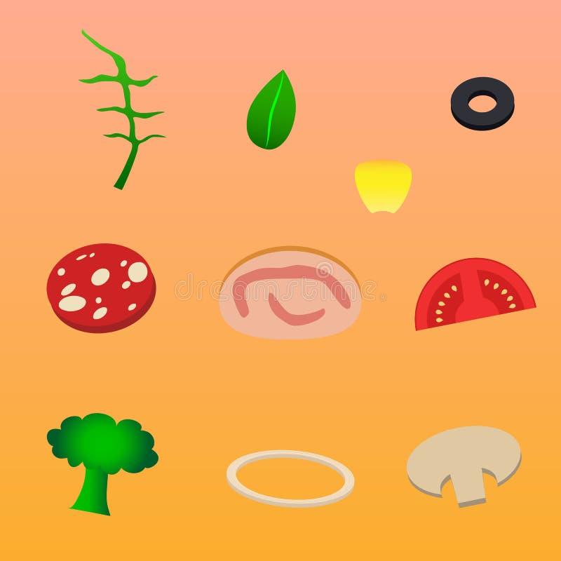 Ingredientes para la aceituna del maíz del rukola del jamón de la seta de la cebolla de la pizza ilustración del vector