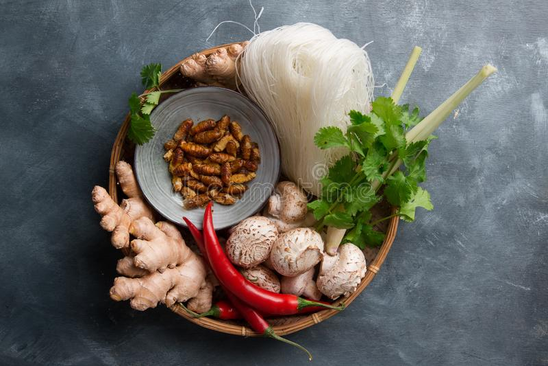 Ingredientes para la comida asiática picante con el insecto frito fotos de archivo