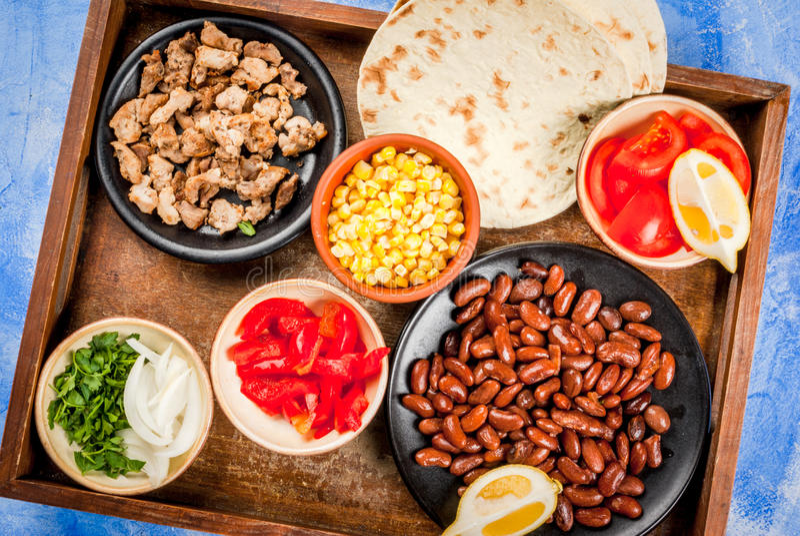 ingredientes para la comida mexicana imagen de archivo