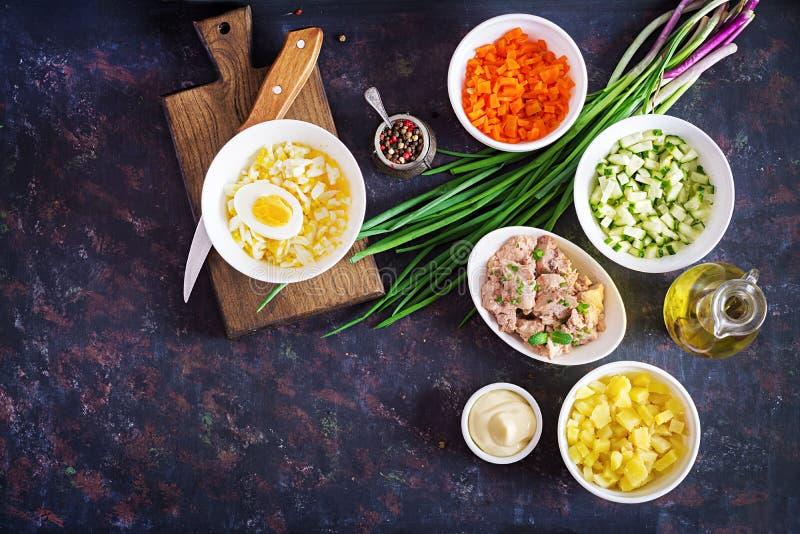 Ingredientes para la ensalada de la preparación del hígado de bacalao con los huevos, pepinos, patatas imagen de archivo libre de regalías