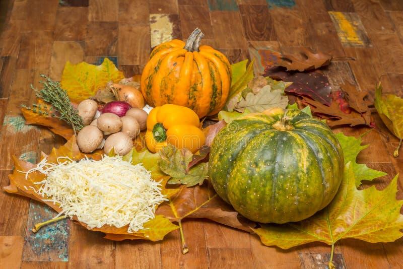 Ingredientes para o fondue de queijo nas folhas de outono fotografia de stock