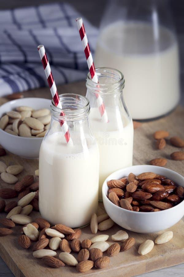 Ingredientes para o leite caseiro da amêndoa, bebida da amêndoa imagem de stock royalty free