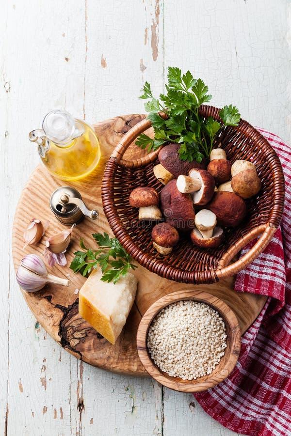 Ingredientes para o risoto com cogumelos selvagens foto de stock royalty free