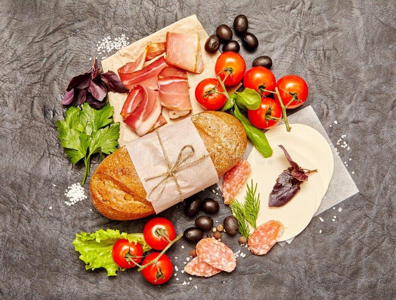 Ingredientes para o sanduíche fotos de stock