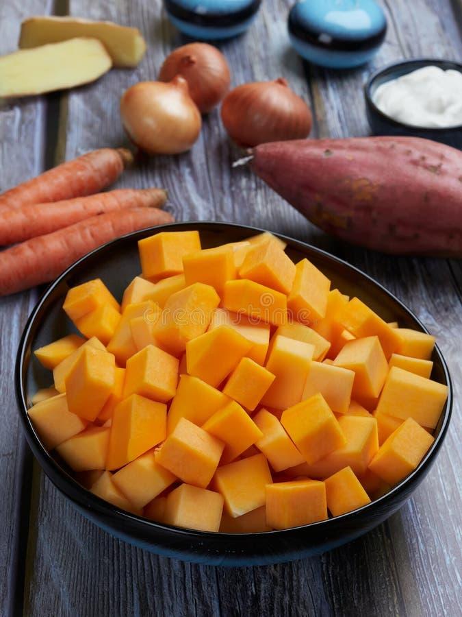 Ingredientes para a polpa de butternut imagem de stock
