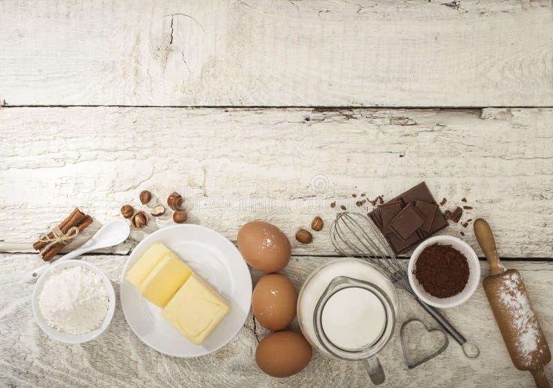 Ingredientes para a preparação de produtos da padaria imagem de stock royalty free
