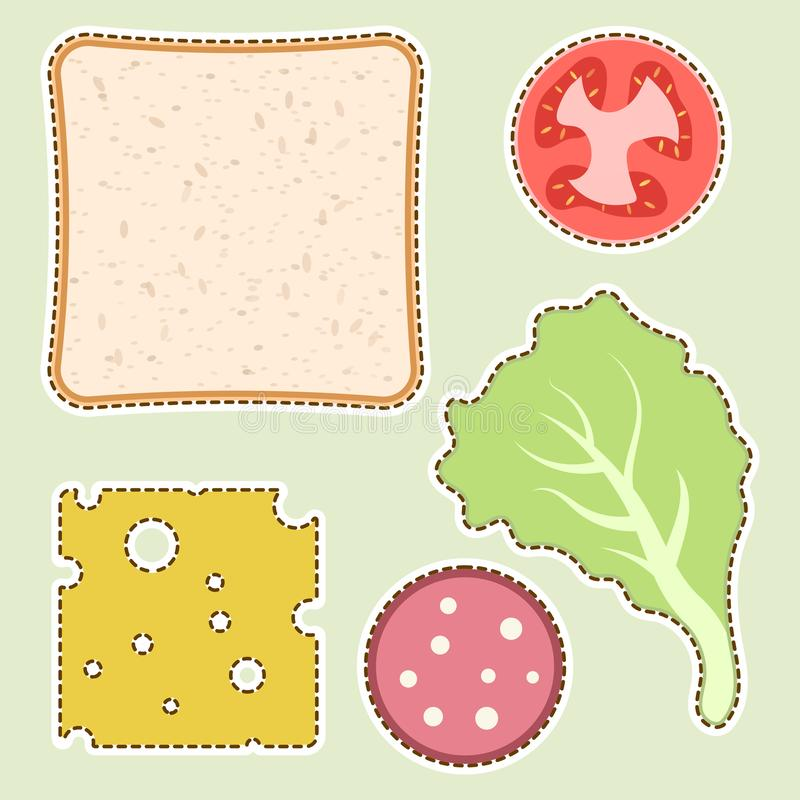 Ingredientes para um sanduíche É possível cortá-lo com tesouras ao longo do contorno Ilustração do vetor para o creati do ` s das ilustração royalty free
