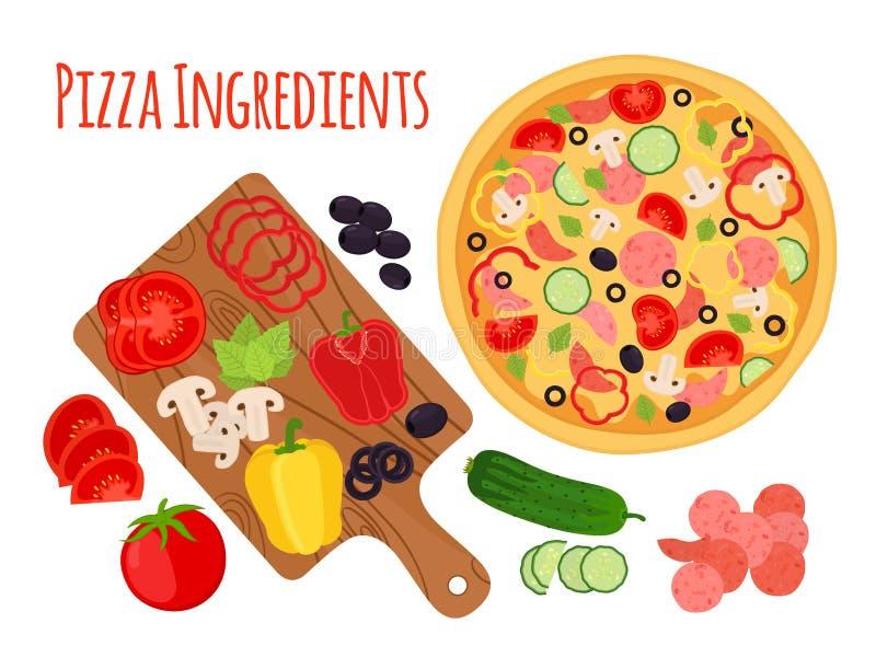 Ingredientes, tabla de cortar y verduras de la pizza de la historieta historieta stock de ilustración