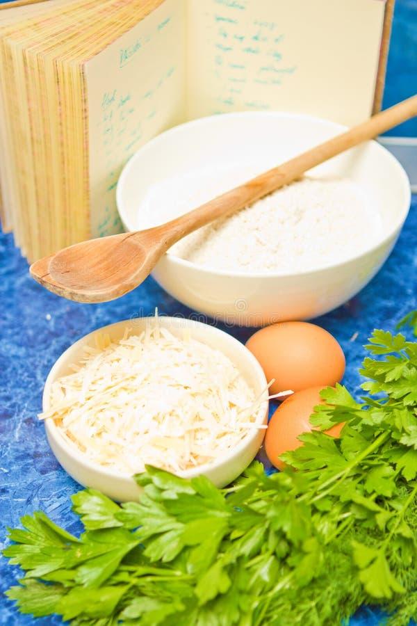 Ingredientes y receta fotografía de archivo
