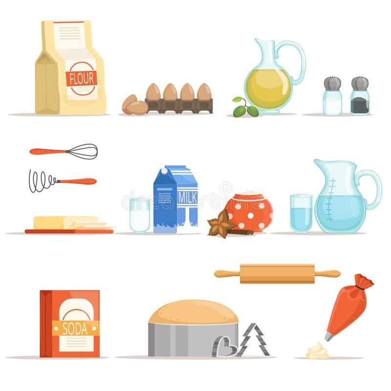Ingredienti alimentari differenti per cuocere e cucinare Illustrazione di vettore nello stile del fumetto illustrazione di stock