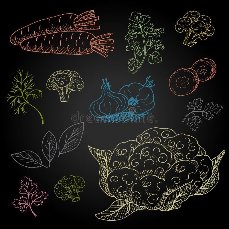Ingredienti alimentari disegnati a mano stabiliti sulla lavagna illustrazione di stock