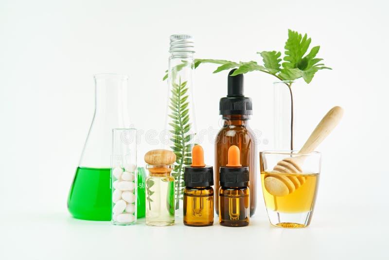 Ingredienti dei prodotti di cura di pelle E miele nel vetro fotografia stock libera da diritti