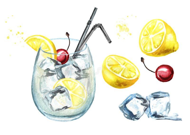 Ingredienti del cocktail di Tom Collins con l'insieme del limone, della ciliegia e dei cubetti di ghiaccio Illustrazione disegnat illustrazione di stock