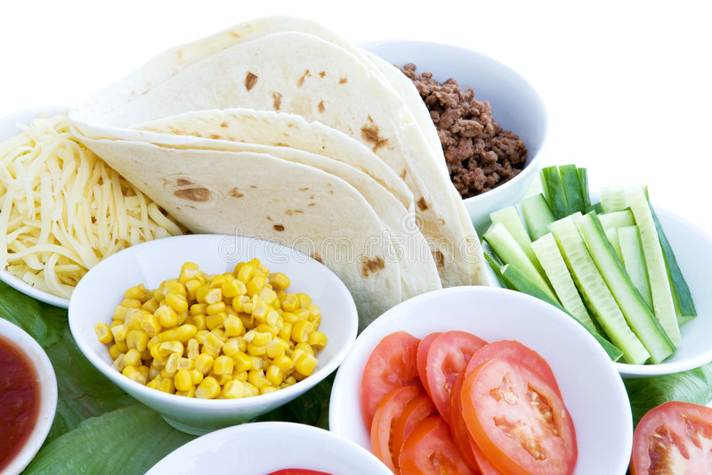Ingredienti del Taco immagini stock libere da diritti