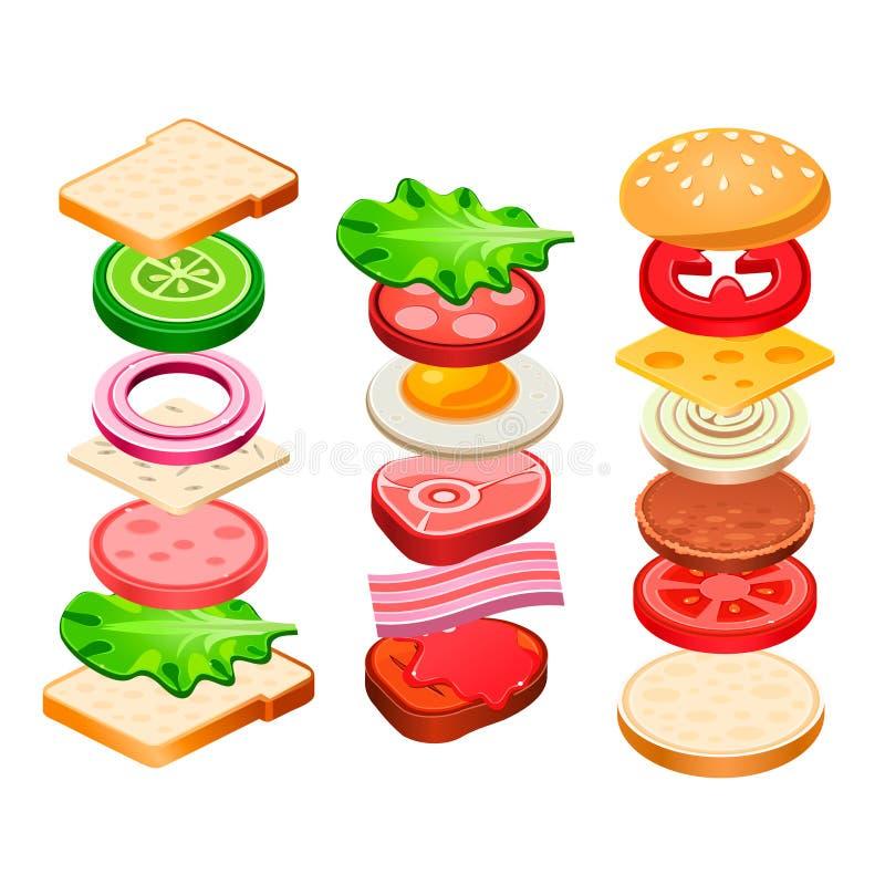 Ingredienti dell'hamburger e del panino messi illustrazione di stock