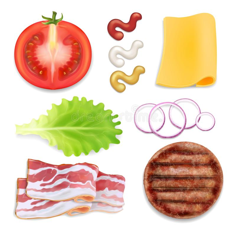 Ingredienti dell'hamburger Parti dell'hamburger messe Bacon, chees, pomodoro, insalata royalty illustrazione gratis
