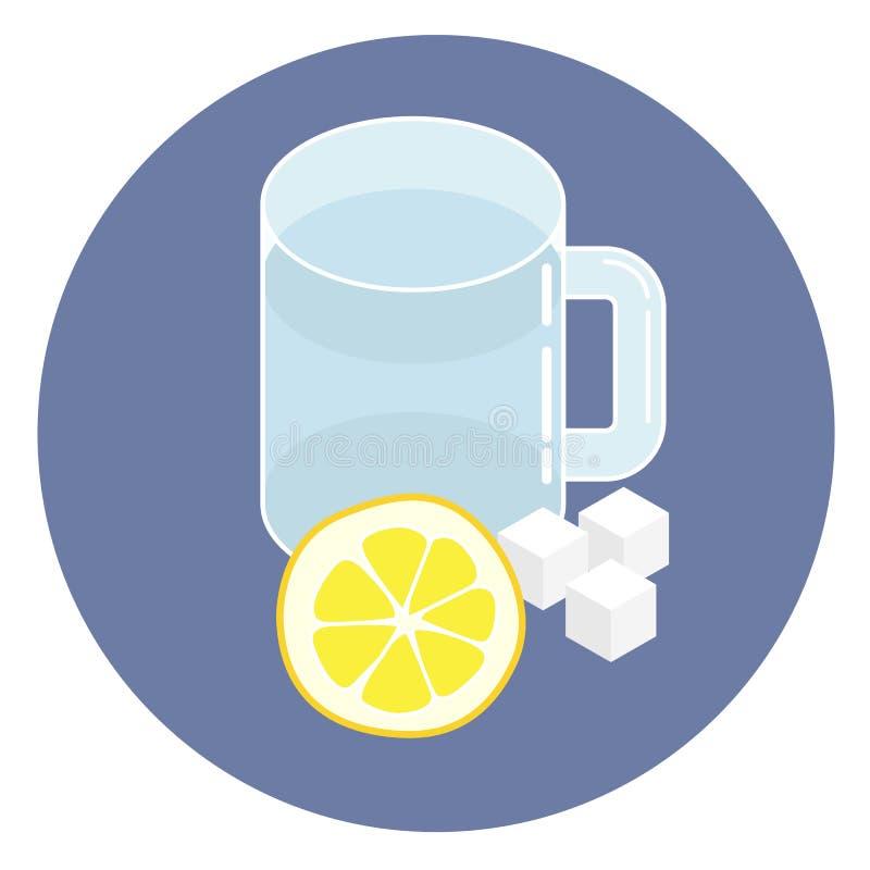 Ingredienti della limonata: bicchiere d'acqua, limone e zucchero Illustrazione isometrica di stile piano, icona, segno illustrazione vettoriale