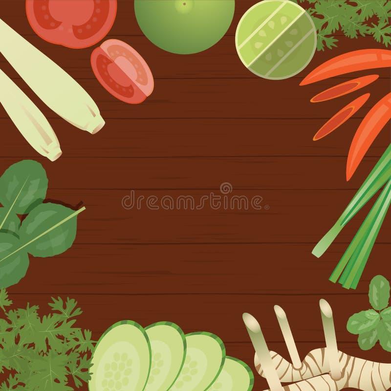 Ingredienti di alimenti tailandesi di vettore su fondo di legno illustrazione di stock