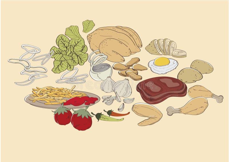 Ingredienti di alimento illustrazione di stock