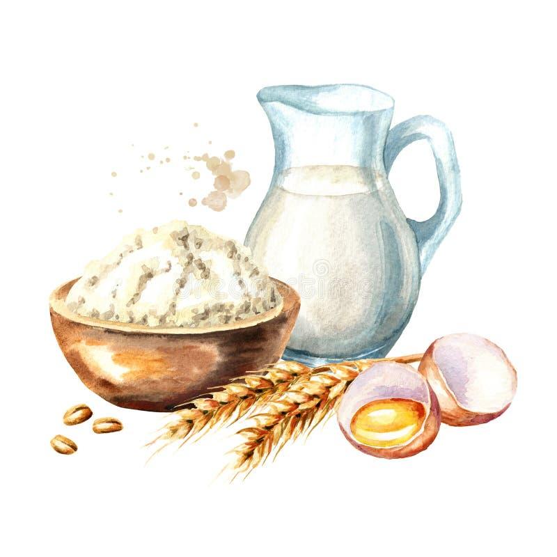 Ingredienti di Cookig messi Uovo rotto, ciotola di farina e brocca di latte Illustrazione disegnata a mano dell'acquerello, isola illustrazione di stock
