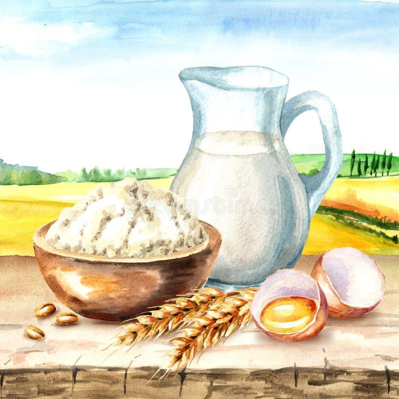 Ingredienti di Cookig, prodotti naturali Ciotola di farina, di uovo tagliato, di orecchie di grano e di brocca di latte sui prece illustrazione di stock