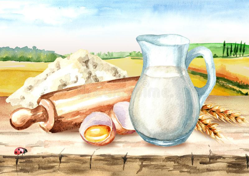 Ingredienti di Cookig, prodotti naturali Matterello di legno, ciotola di farina, uovo tagliato, orecchie di grano e brocca di lat illustrazione vettoriale