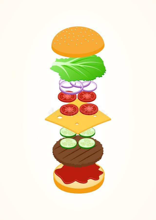 Ingredienti di galleggiamento per un hamburger illustrazione di stock