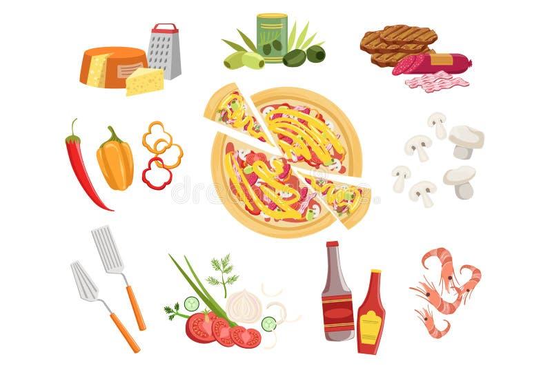 Ingredienti e utensili da cucina della pizza messi Illustrazione di vettore nello stile semplificato realistico illustrazione di stock