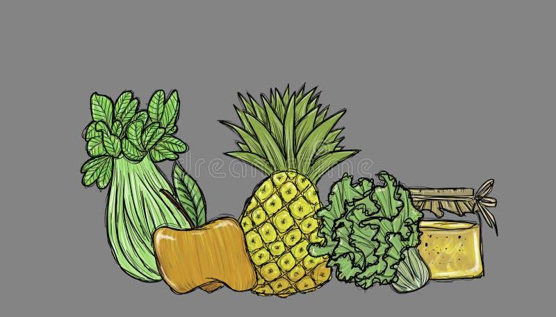 Ingredienti freschi del frappé, illustrazione illustrazione di stock