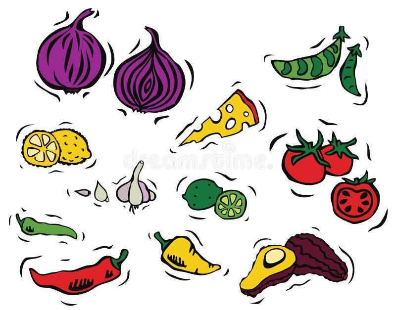 Ingredienti freschi - insieme del messicano illustrazione vettoriale