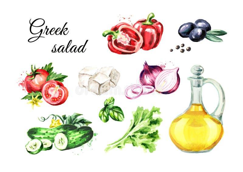 Ingredienti greci dell'insalata messi Illustrazione disegnata a mano dell'acquerello, isolata su fondo bianco royalty illustrazione gratis