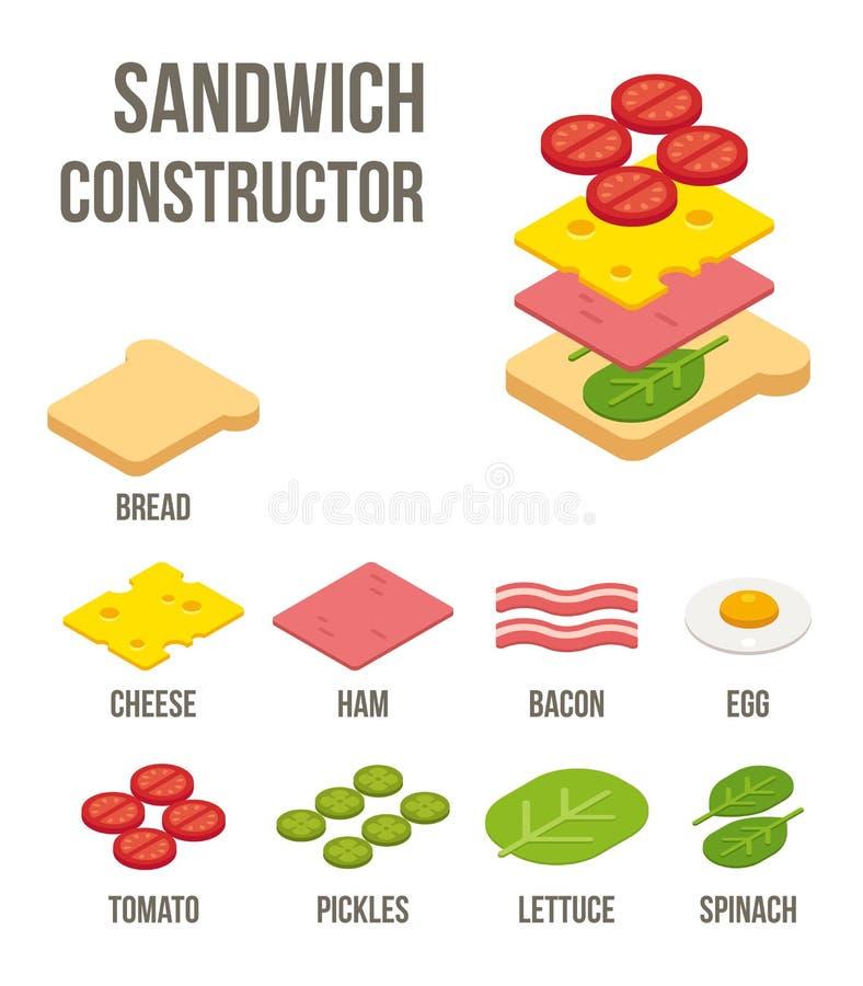 Ingredienti isometrici del panino illustrazione di stock