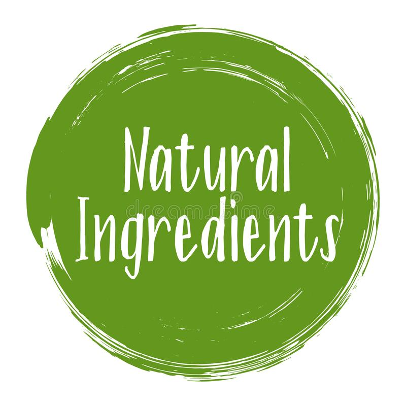 Ingredienti naturali icona, vettore dell'etichetta del pacchetto illustrazione vettoriale