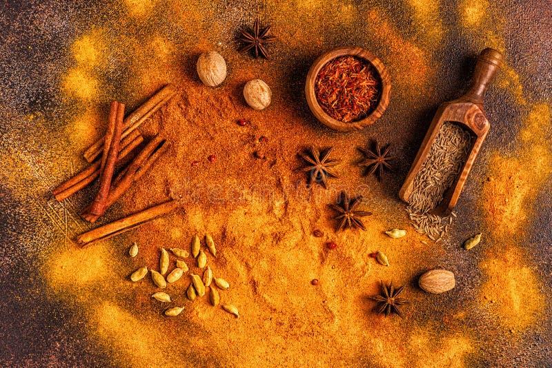 Ingredienti per la cottura delle spezie Concetto Spezie fotografie stock libere da diritti