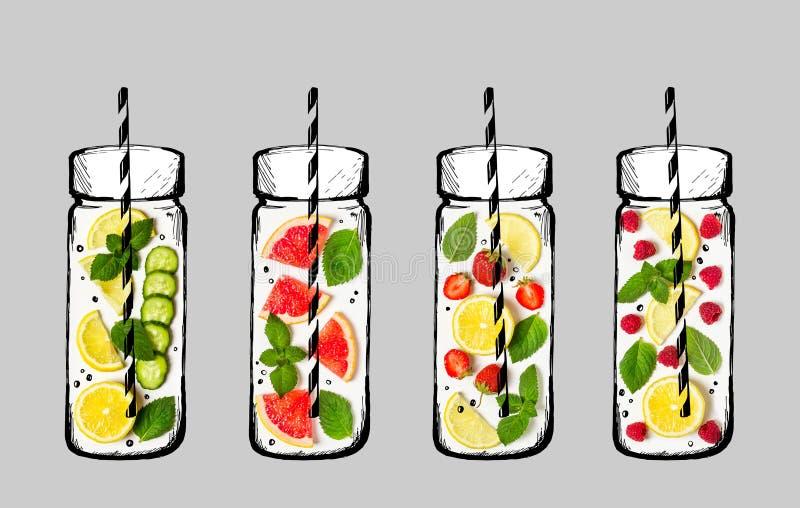 Ingredienti per limonata Frutta fresca e bacche Bottiglie disponibile del disegno della foto delle bacche e di frutta fresca illustrazione vettoriale