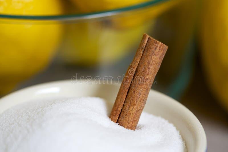 Ingredienti per Limoncello compreso i limoni, lo zucchero e la cannella fotografia stock libera da diritti