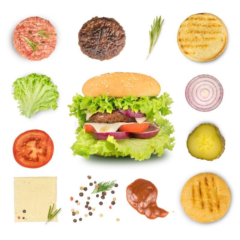 Ingredienti per produrre hamburger ed hamburger immagini stock libere da diritti