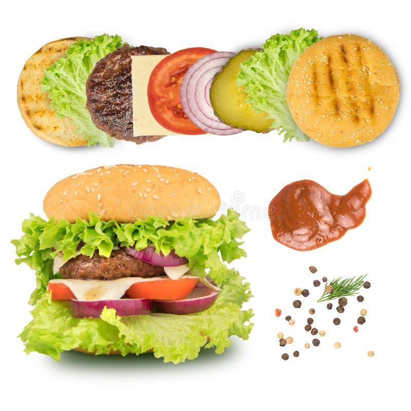 Ingredienti per produrre hamburger isolato sul bianco immagine stock libera da diritti