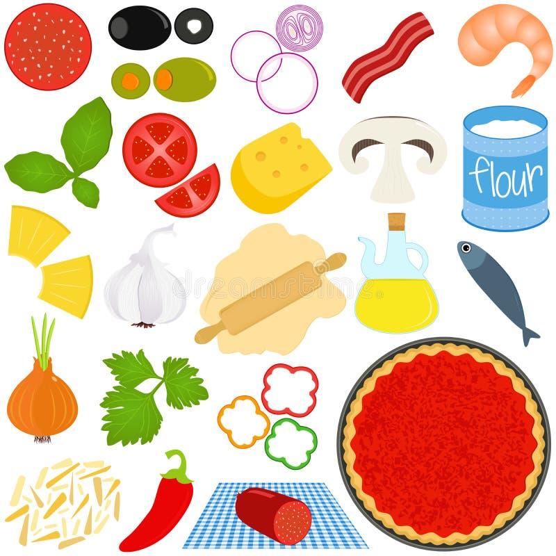 Ingredienti per produrre pizza illustrazione vettoriale