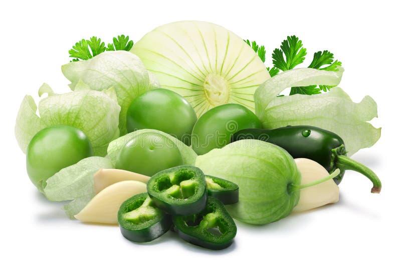 Ingredienti per salsa Verde, percorsi immagine stock