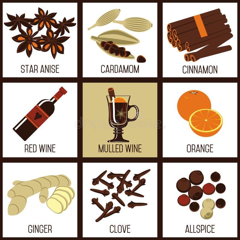 Ingredienti per vino sciupato illustrazione vettoriale