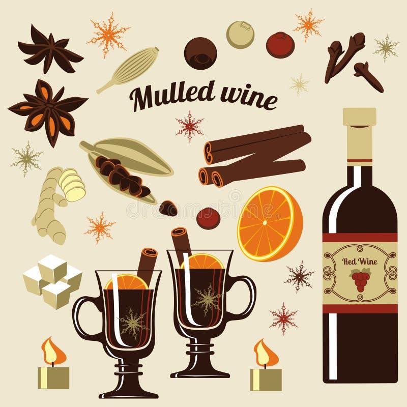 Ingredienti per vino sciupato royalty illustrazione gratis