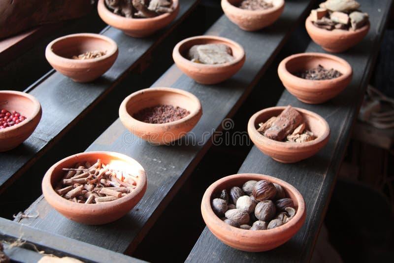 Ingredients of ayurvedic treatment, Sri Lanka. Close up of ingredients of ayurvedic treatment - spices, roots, aromatic herbs, Sri Lanka royalty free stock images